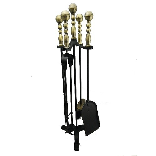 Boone Hearth Antique Handle Fireplace Tool Set Brass